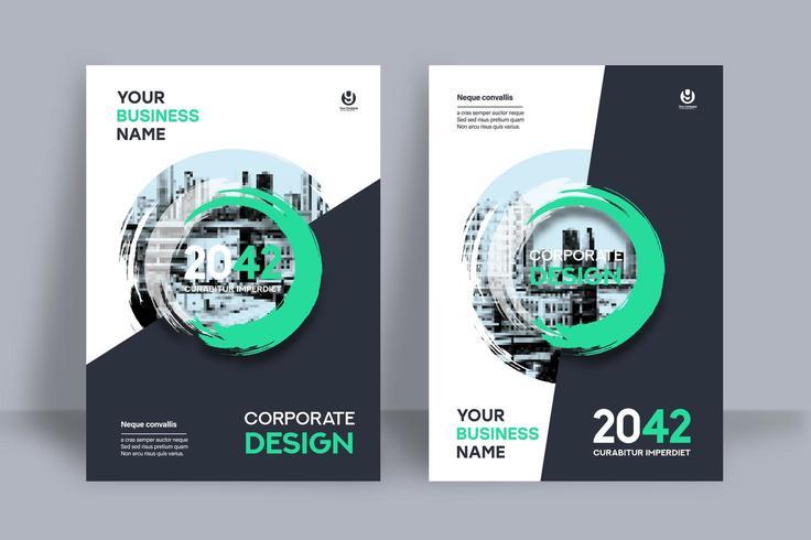 Überlagerte grüne Kreisstadt-Hintergrund-Geschäfts-Bucheinband-Design-Schablone vektor
