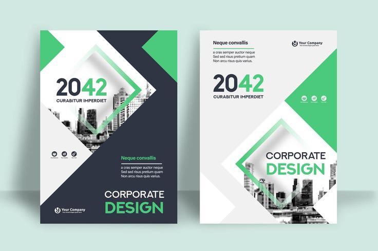 Stadt-Hintergrund-Geschäfts-Bucheinband-Design-Schablone vektor