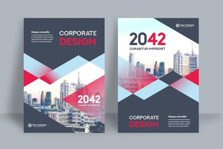 Gemischte blaue und rote Stadt-Hintergrund-Geschäfts-Bucheinband-Design-Schablone vektor