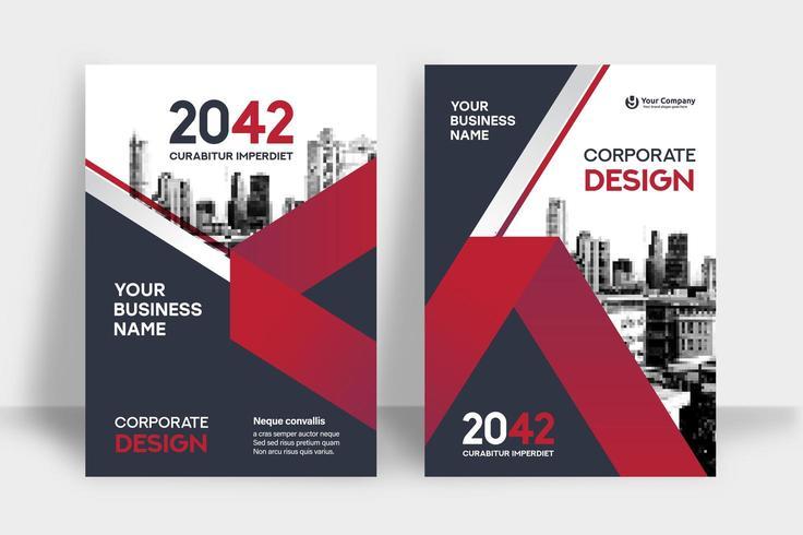 Rote Skyline-Hintergrund-Geschäfts-Bucheinband-Design-Schablone vektor