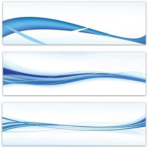 Abstraktes Blau bewegt unbelegte Fahne wellenartig vektor