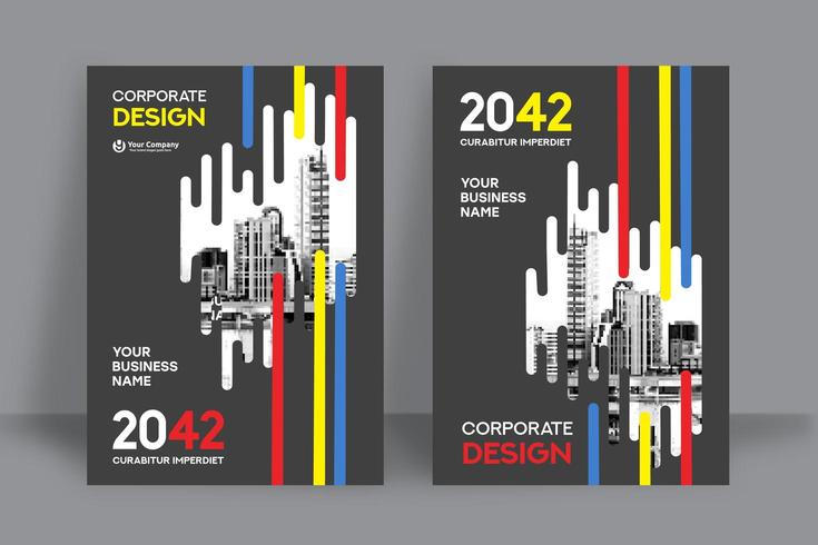 Mehrfarbige Stadt-Hintergrund-Geschäfts-Bucheinband-Design-Schablone vektor