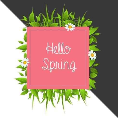 Färgglad blommig Hello vårbakgrund vektor