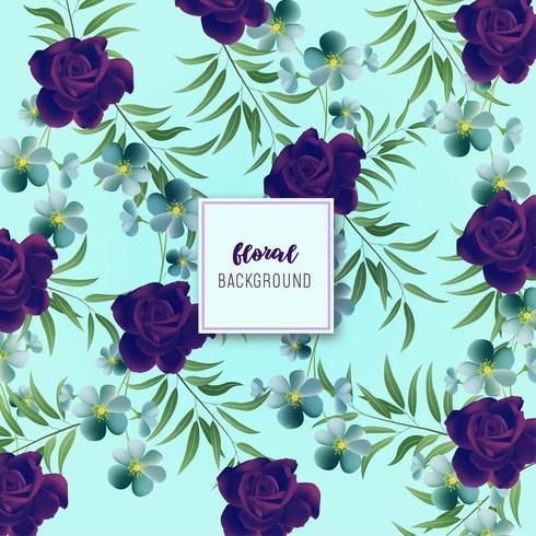 Blaues und lila Blumenmusterdesign vektor