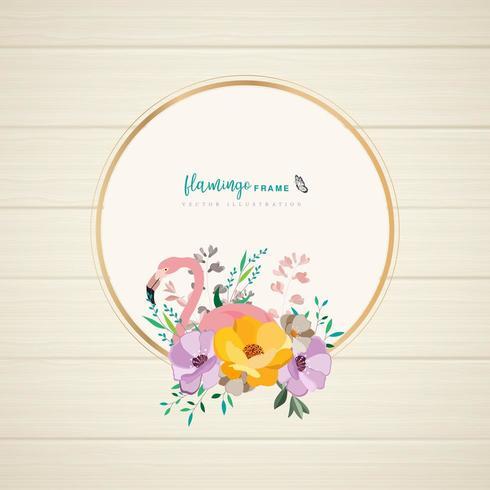 flamingo floral frame design vektor