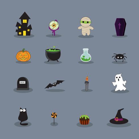 uppsättning Halloween illustrationer vektor