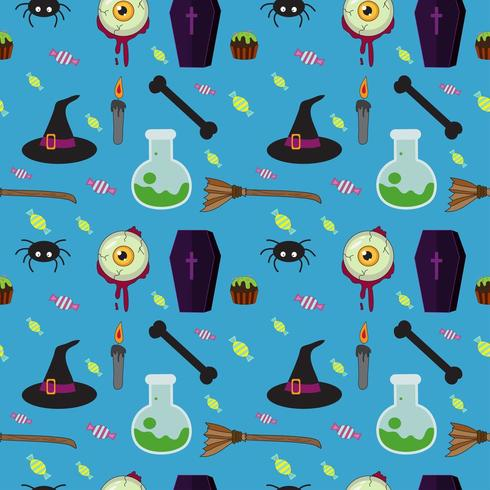 Sömlös blå mönster för Halloween vektor