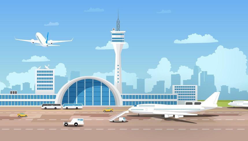 modern flygplats och runaway vektor