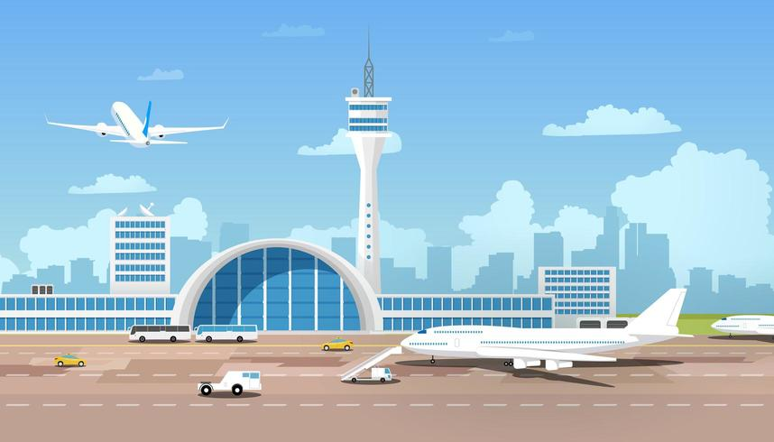 Modernes Flughafenterminal und Runaway vektor