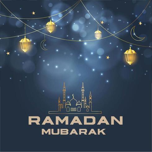 Religiös islamisk Ramadan Mubarak hälsning vektor