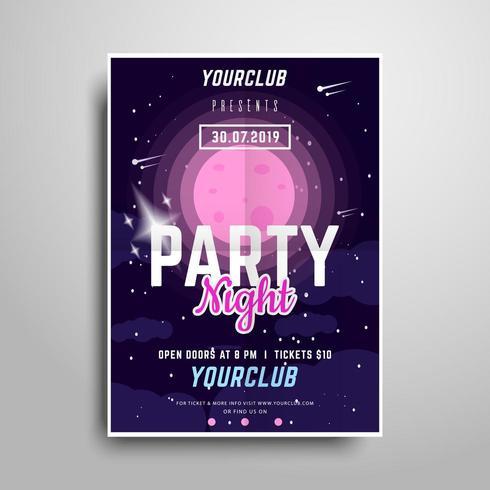 Space Party Plakat Vorlage vektor