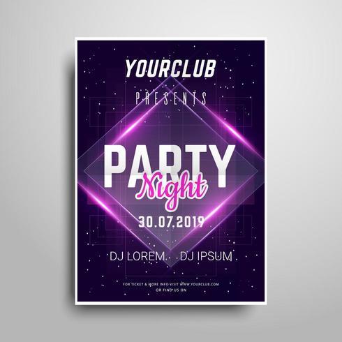 Lila Neon Party Plakat Vorlage. vektor