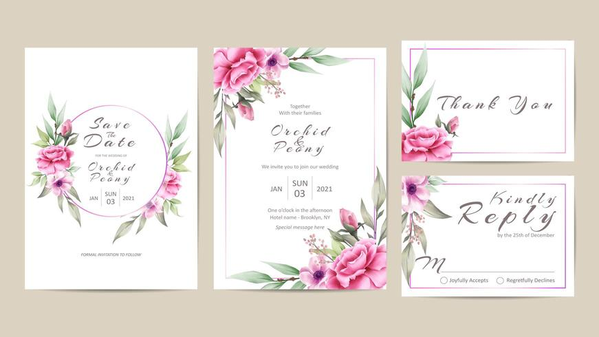 Hochzeits-Einladungs-Schablonen-Satz Aquarell-Blumen vektor