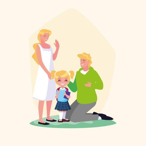 junges Schulmädchen mit Eltern vektor