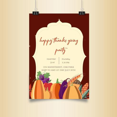 Thanksgiving Party Gemüse Plakatgestaltung vektor