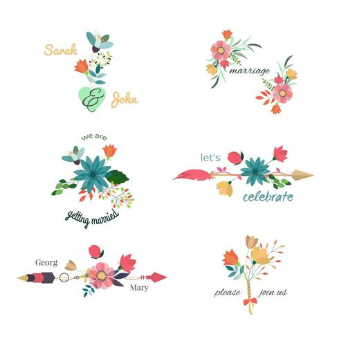 Uppsättning av vackra blommor bröllop buketter vektor