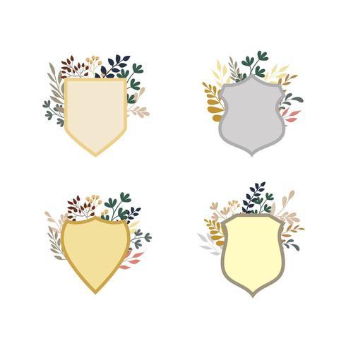 Reihe von floralen Abzeichen Sammlung vektor
