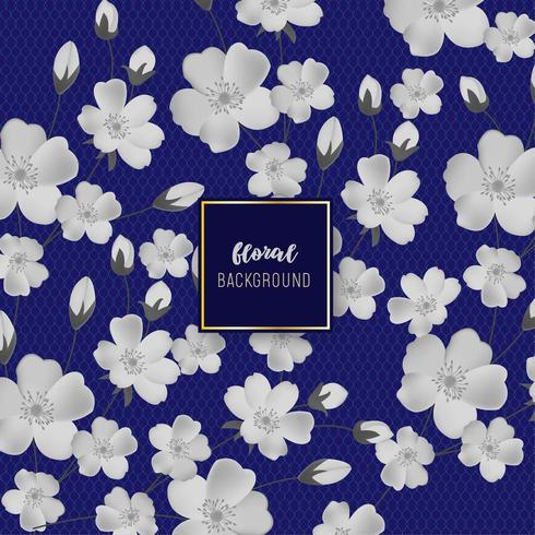 Blommig bakgrund med vit blomma och marinblå bakgrund vektor