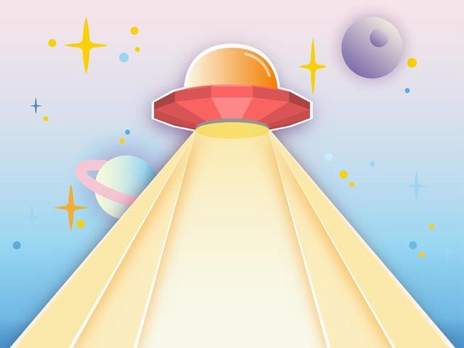 UFO-stråle på galaxbakgrund vektor