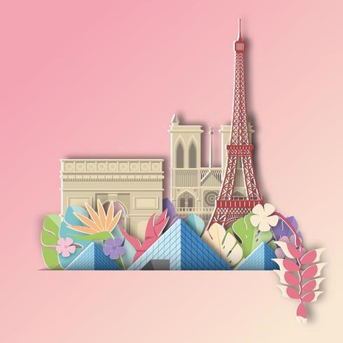 Paris med tropiskt blad sommarbaner vektor
