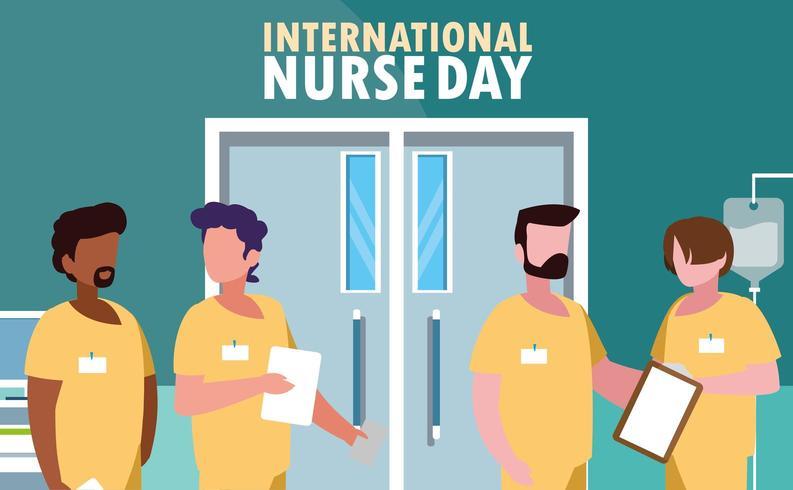 internationell sjuksköterskedag med en grupp yrkespersoner vektor
