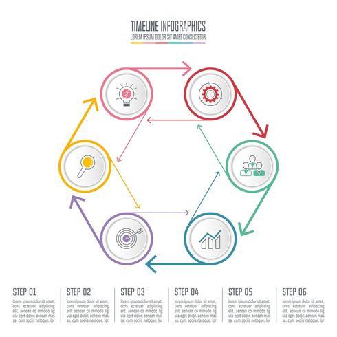 infographic design affärsidé med 6 alternativ. vektor