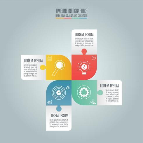 Tidslinje infographic koncept med 4 alternativ vektor