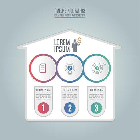 Infographik Geschäftskonzept mit 3 Optionen. vektor