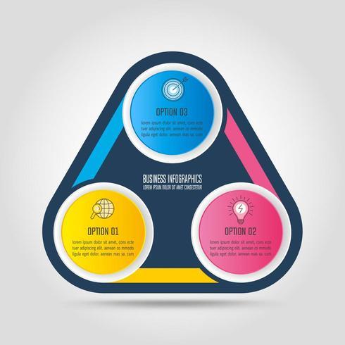 Infografik-Design-Business-Konzept mit 3 Optionen, Teile oder Prozesse. vektor