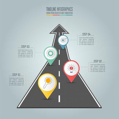 Tidslinje infographic affärsidé med fyra alternativ, steg eller processer. vektor