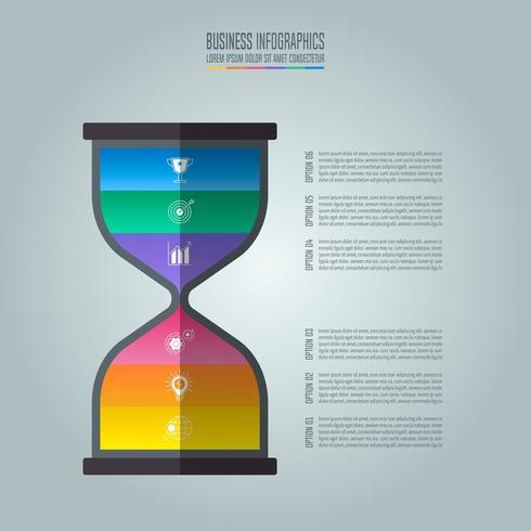 Infografik-Design-Business-Konzept mit 6 Optionen, Teile oder Prozesse. vektor