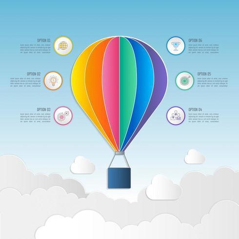 affärsidé för infographic design med 6 alternativ, delar eller processer. vektor