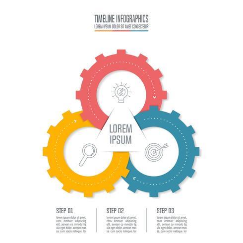 Affärsidé för infographic design med 3 alternativ. vektor