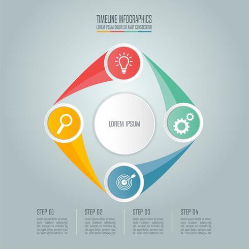 Affärsidé med fyra alternativ, steg eller processer. vektor