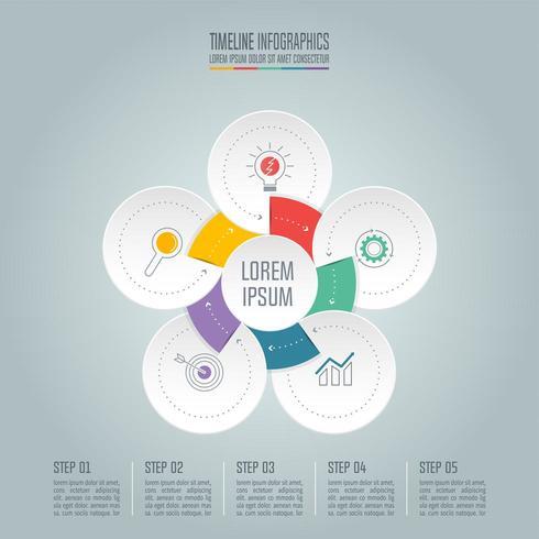 Affärsidé för infographic design med 5 alternativ. vektor