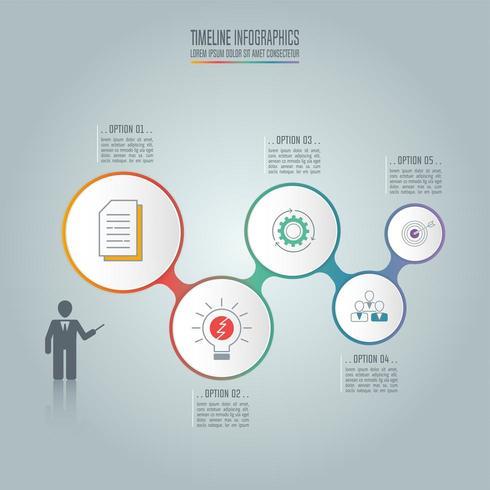 Infographik Geschäftskonzept mit 5 Optionen. vektor