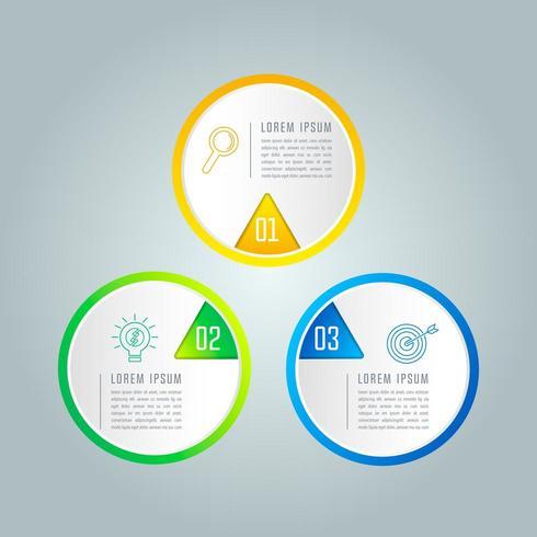 Kreatives Konzept für Infografik mit 3 Optionen, Teilen oder Prozessen. vektor