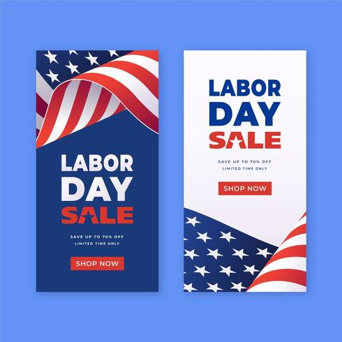 Labor Day Sale-reklam vertikala mallar vektor