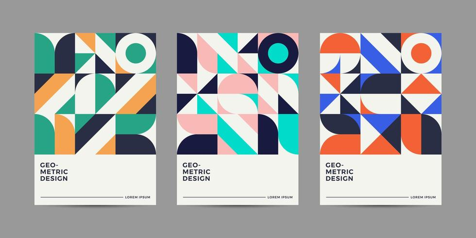 Retro geometriska täcker design vektor