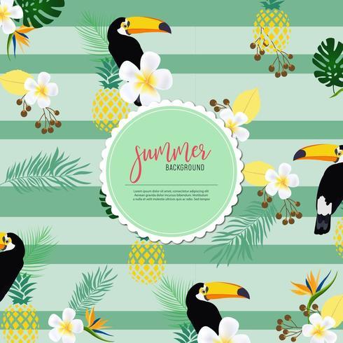 Randigt sommarmönster med tukaner, ananas och bladverk vektor