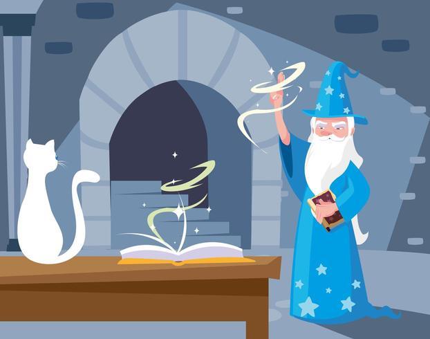 Zaubererhort mit weißer Katze vektor