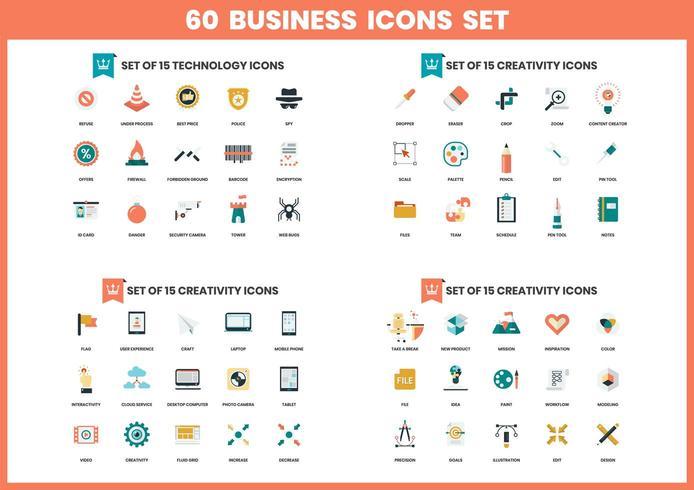 60 kreativitetsikoner för företag vektor
