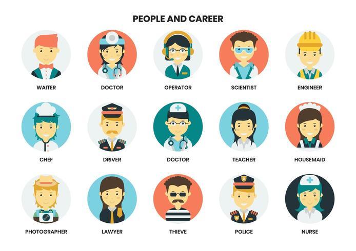 människor och karriär ikoner set vektor