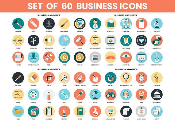 Business och Office ikoner set vektor