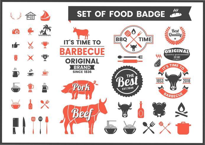 Restaurang Vintage Food Badges vektor