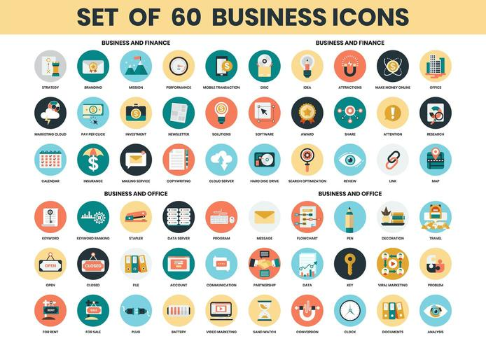 Ikoner för affär, finans och kontor vektor