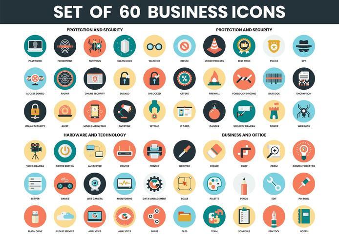 Ikoner för säkerhet, teknik och företag vektor