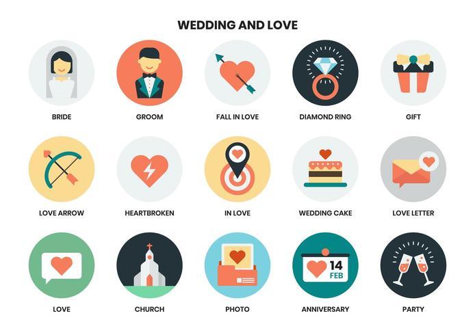 Bröllop och kärlek ikoner set vektor