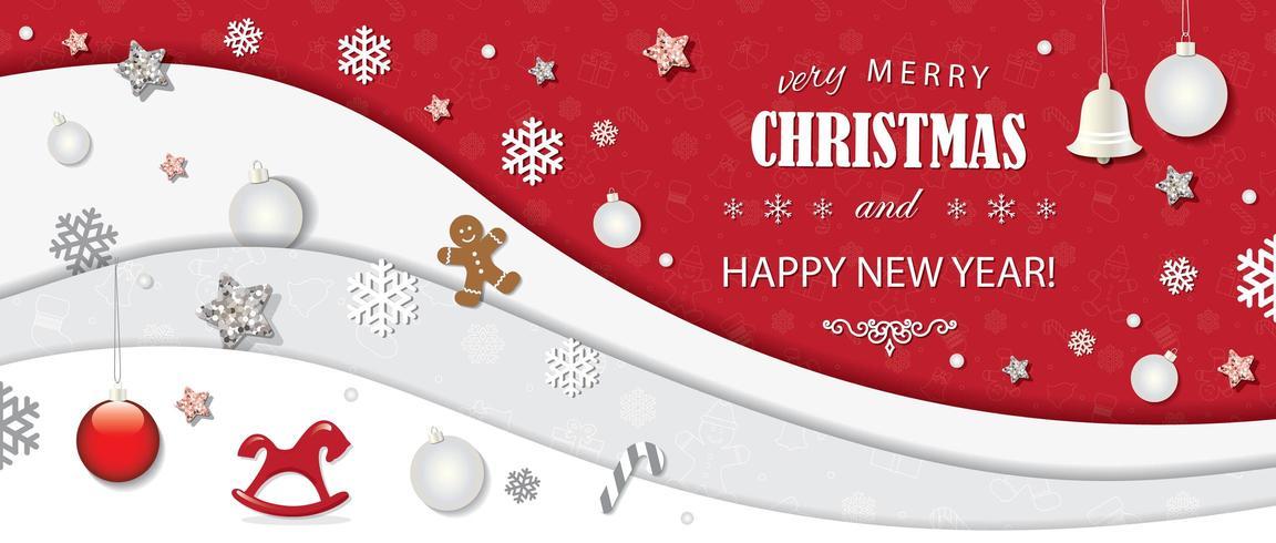 Weihnachts- und guten Rutsch ins Neue Jahr-Karte vektor