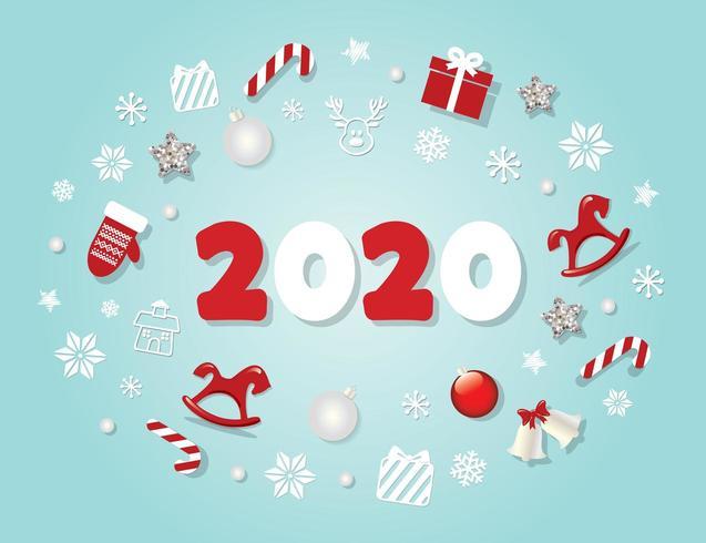 2020 Nytt år mall vektor